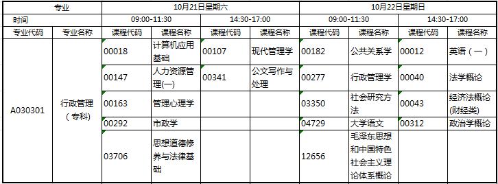 四川省行政管理自考1710考试安排